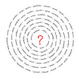 Questions. A lot of questions around a red question mark: when, why, where, how, what, who vector illustration
