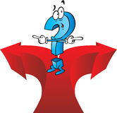 Questions. A very confused cartoon question mark cant decide on his direction. illustration Stock Image