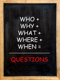 Questions. A lot of questions in a mathematical formula: when, why, where, how, what, who on a chalkboard Stock Images