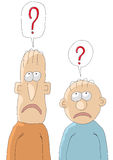 Questions. An illustration with two cute crazy characters Stock Photo