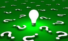 The questions. Many questions with one lightbulb on a green background Vector Illustration