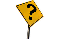 Questions. Road side warning sign with big question mark Stock Photos