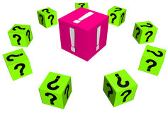 Questions. Cubes with question marks around aone with Royalty Free Stock Photos