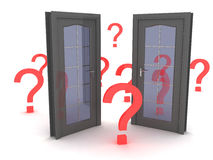 QuestionS. Background picture with doors and questions stock illustration
