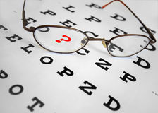 Questions. Glasses on eye chart with question mark Stock Photos