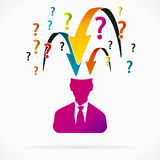 Questions. Abstract avatar vector illustration about questions interrogator Royalty Free Stock Image