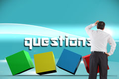 Questions against futuristic bright blue background Stock Photos