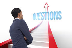 Questions against red arrow with steps graphic Stock Photo