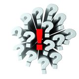 Questions and answer. Many questions with one red exclamation mark isolated on white royalty free illustration