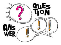 Questions and answer funny style bubbles on white  Stock Photo