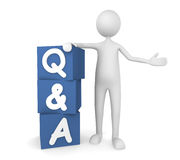 Questions and Answers. Concept depicting man leaning on to Q&A boxes; great for web sites, advertisements, help concepts Stock Photo