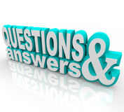 Questions and Answers. The words Questions and Answers in 3D and on an angle Royalty Free Stock Image