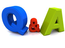 Questions and answers. Question and answers denoted by text q and a n blank space with nothing else on it Royalty Free Stock Photo
