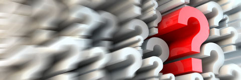 Questions and answers. 3d rendered question marks -  panoramic ratio (websie banner dimensions Royalty Free Stock Photography
