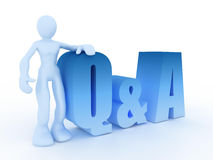 Questions and answers. A 3d man with question and answers symbol Stock Illustration
