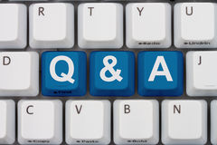 Questions and Answers available. Computer keyboard keys with word Q&A, Questions and Answers available Royalty Free Stock Photos
