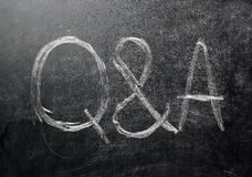 Questions and answers on a black chalkboard Stock Images