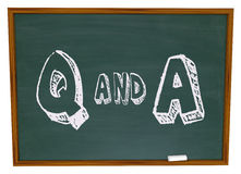 Questions and Answers - Chalkboard. The letters Q and A written on a chalkboard Royalty Free Stock Photos