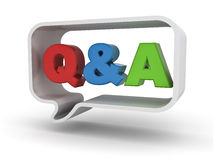 Questions and answers concept Q and A word in speech bubble over white Royalty Free Stock Photography