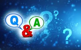 Questions and answers concept. Questionnaire Concept background. 3d render stock illustration
