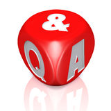 Questions and answers dice with reflection Stock Images