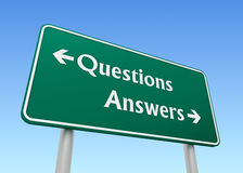 Questions answers direction sign concept 3d illustration Stock Images