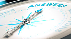 Questions and Answers, FAQ. Compass with needle pointing the word answer, white and blue tones. Background image for illustration of FAQ royalty free illustration