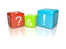 Questions and answers. An image of some questions and answers dice stock illustration