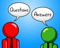Questions Answers Indicates Questioning Asked And Assistance. Questions Answers Showing Questioning Info And Faq Stock Photo