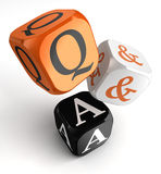 Questions and answers orange black dice blocks Royalty Free Stock Image