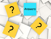 Questions Answers Post-It Notes Mean Inquiries. Questions Answers Post-It Notes Meaning Inquiries And Solutions Royalty Free Stock Images