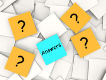 Questions Answers Post-It Notes Show Asking And Stock Images