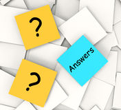 Questions Answers Post-It Notes Show. Ing Questioning And Explanations Stock Images