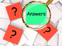 Questions Answers Post-It Papers Mean Inquiries And Solutions Stock Image