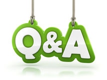 Questions and Answers Q&A green word text  on white back Stock Image