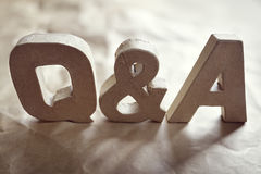 Questions and answers. Q & A title made from cardboard letters Stock Photo