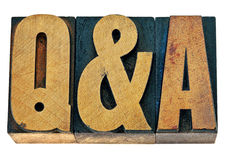 Questions and answers - Q&A in wood type Royalty Free Stock Image