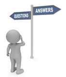 Questions Answers Sign Means Questioning Faqs And Knowledge 3d Rendering. Questions Answers Sign Showing Help Ask And Asked 3d Rendering Royalty Free Stock Photos