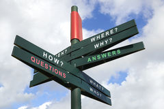 Questions and Answers signpost Royalty Free Stock Photo