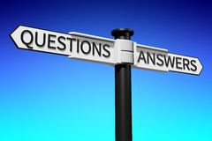 questions and answers signpost... Royalty Free Stock Images