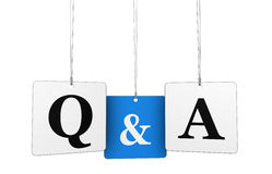 Questions And Answers Tags Concept. Questions and answers business web and Internet concept with q and a letters and sign on hanged tags isolated on white Royalty Free Stock Photo