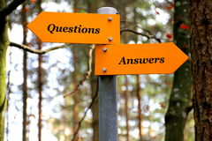 Questions and Answers. Walking track sign on a wood board Royalty Free Stock Photography