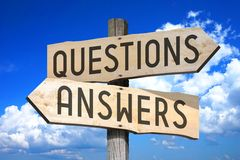 Questions, answers - wooden signpost Stock Images