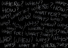 Questions. Asking yourself lots of questions (chalk on blackboard Royalty Free Stock Photography
