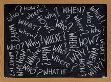 Questions on blackboard. Who, what, why, how, where, when, what if questions - white chalk handwriting on blackboard Stock Photo