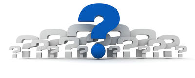 Questions in blue and white Royalty Free Stock Image