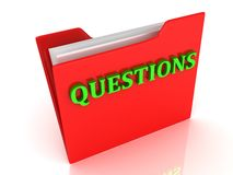 QUESTIONS bright green letters on a red folder Stock Photography