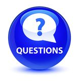 Questions (bubble icon) glassy blue round button. Questions (bubble icon) isolated on glassy blue round button abstract illustration Stock Photos