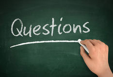 Questions chalkboard write concept illustration. Questions chalkboard hand write 3d concept illustration Royalty Free Stock Photo
