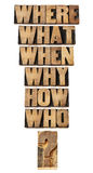 Questions collage in wood type. Who, what, where, when, why, how questions  - brainstorming or decision making concept - a collage of isolated words in vintage Royalty Free Stock Image